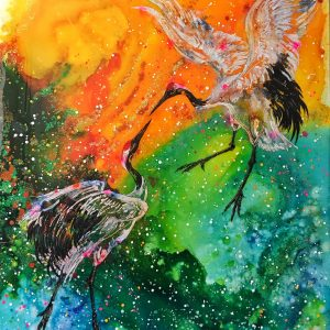 """""""Fly Away With Me"""" - Balletic Red Crowned Cranes, performing in front of the sunset skies. He is wanting her to fly away with him....forever. these cranes are sacred and seen as a symbol of fidelity, love and longevity."""