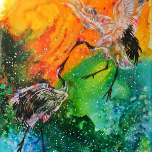 """Fly Away With Me"" - Balletic Red Crowned Cranes, performing in front of the sunset skies. He is wanting her to fly away with him....forever. these cranes are sacred and seen as a symbol of fidelity, love and longevity."