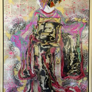 """Serene Beauty"" - SOLD - Fluid Acrylics, Metallic Lustres, Genuine Gold Leaf on canvas coated in epoxy resin. 101.5cm x 162.5cm Framed - The exquisite calm and beauty of the Geisha is something that over the years has never diminished. ""I don't know when we'll see each other again or what the world will be like when we do. We may both have seen many horrible things. But I will think of you every time I need to be reminded that there is beauty and goodness in the world."" ― Arthur Golden, Memoirs of a Geisha"