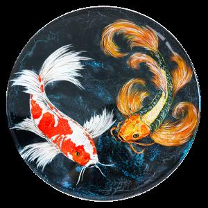 """Moonlight Flit"" SOLD - Acrylic, glitter & resin on 15"" diameter wooden cradle"