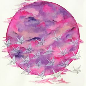 """Cranes Across The Moon"" - Original Watercolour - Mounted & framed - 20 x 28"""