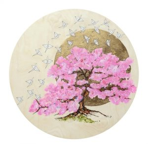 """Hope II - SOLD - Watercolour, gold leaf and resin on cradled birch panel - 24"""" Diameter"""