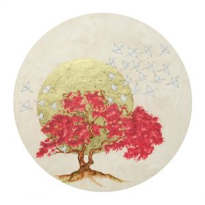 "Hope I - SOLD - Watercolour, 24carat gold leaf & resin on cradled birch panel - 24"" Diameter"