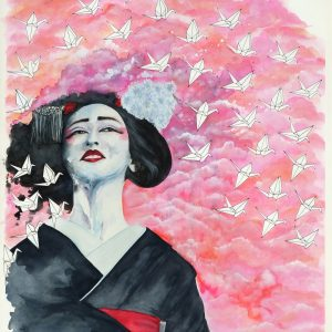 """What Might Have Been"" This beautiful painting is based on the story Sadako and the One Thousand Paper Cranes - Original Watercolour - Float mounted in white frame, overall size 30 x 38"" Please message for pricing"