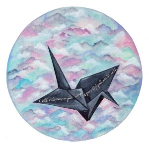 """Peace on Your Wings"" - Original Watercolour - Float mounted with grey background in white wooded frame"