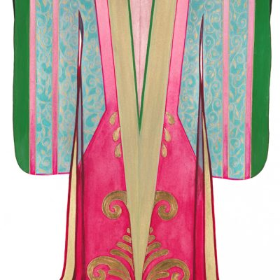 Pink Gold and Green Kimono with gold leaf detail - Original Watercolour on Arches 640gsm Deckled Edged Paper - size 76 x 57cms (Unframed)