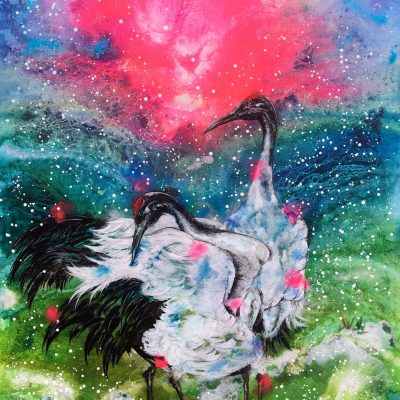 """Watching Over You"" - Beautiful and serene Red Crowned Cranes, these birds pair for life and this painting reflect the bond they have for one another. Acrylics"