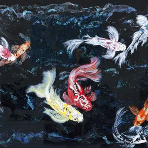 """Looking for Love"" - Acrylic, metallic paint, glitter & resin on dibond panel 96 x 137cms Framed - In Japanese culture, the koi carp is a highly respected and very symbolic fish that is closely tied to the country's national identity. Many of the attributes of the koi symbolize several lessons and trials individuals often encounter. Some of the characteristics associated with the koi include, Good Fortune, Success, Prosperity, Longevity, Courage, Ambition & Perseverance."