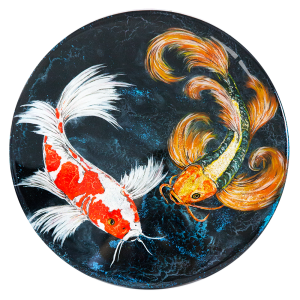 """Moonlight Flit"" SOLD - Acrylic, glitter & resin on 15"" diameter wooden cradle"