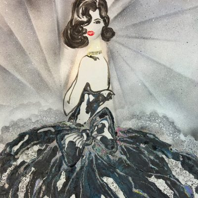 """Midnight Muse"" Acrylic & resin on canvas board - 84 x 59cms , 33 x 23.5"""