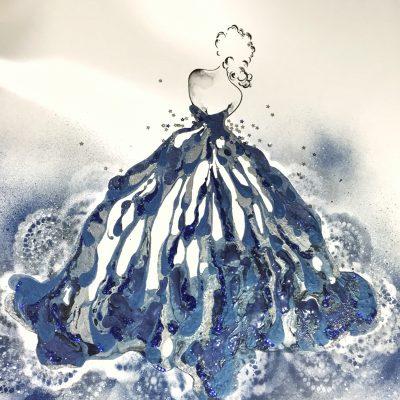 """"""" Blue Velvet"""" - SOLD 78 x 78cms Framed Acrylic, sugar spray and resin on canvas panel"""