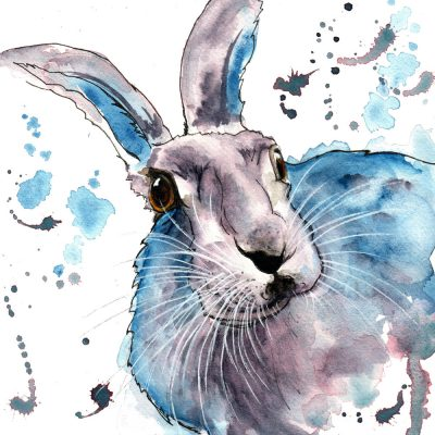 The Curious Hare - Original Watercolour for Sale - Prints Available