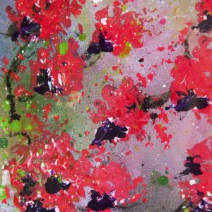 "SOLD ""Falling Blossom"" - Acrylics and resin on canvas 30 x 92cms - £495"