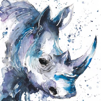 Rhino - Original Watercolour - 30 x 24 Inches (unframed)