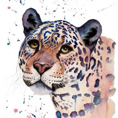 Jaguar - SOLD - Original Watercolour - 30 x 24 Inches