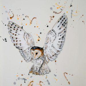 """""""Barn Owl in White"""" - Original Watercolour"""