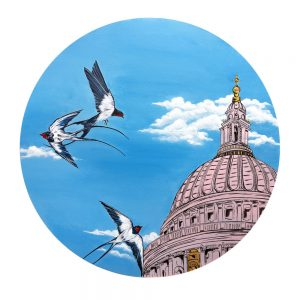Swallows over St Paul's - SOLD - Original Acrylic and fine liner pen on canvas framed in black circular frame
