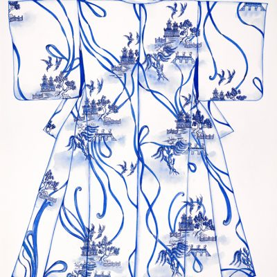 """""""Blue Willow"""" - Original Watercolour on Arches 640gsm Deckled Edged Paper - size 76 x 57cms (Unframed)"""
