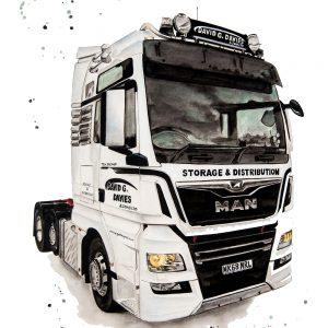 David G Davies Truck - Original Watercolour on Fabriano 640gsm paper
